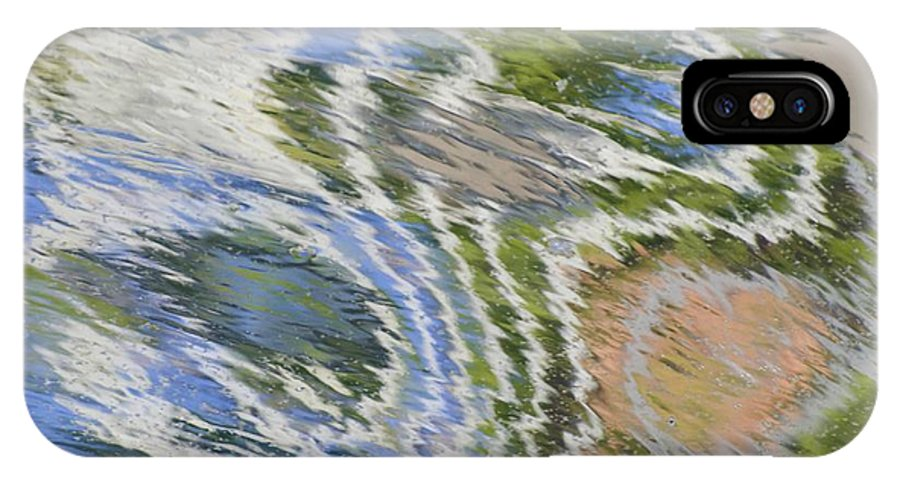 Abstract IPhone X Case featuring the photograph Water Ripples In Blue And Green by Lynn Hansen