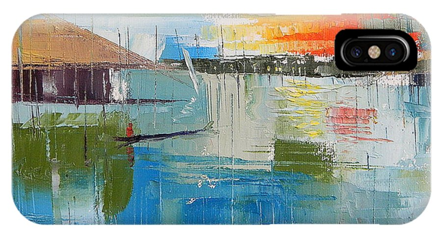 Lagos IPhone X Case featuring the painting Water Taxi by Said Oladejo-lawal