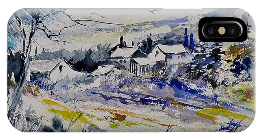 Landscape IPhone X Case featuring the painting Watercolor 413010 by Pol Ledent