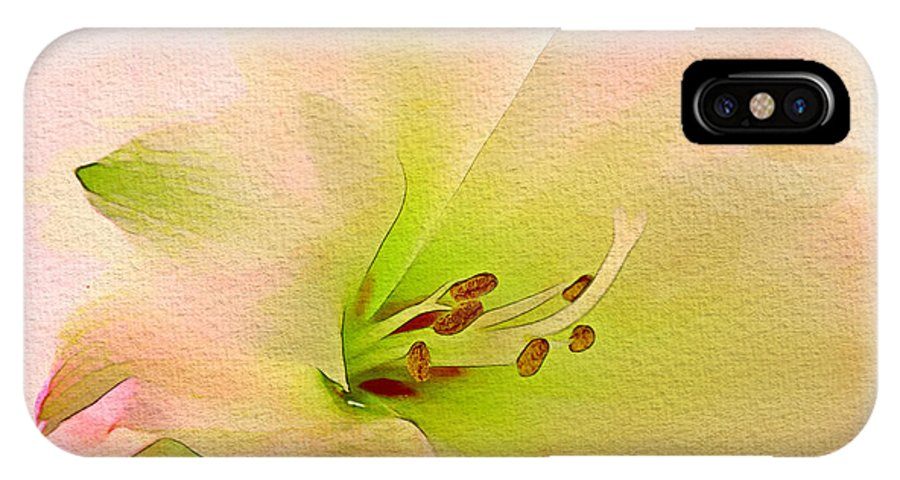 Watercolor IPhone X Case featuring the digital art Watercolor Lily Bloom by Georgiana Romanovna