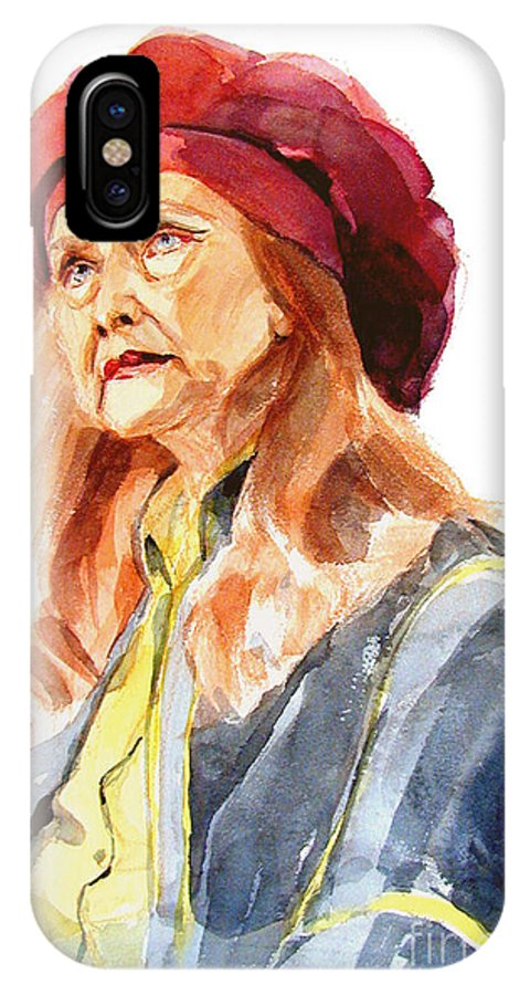 Watercolor Portrait Of Old Woman IPhone X Case featuring the painting Watercolor Portrait Of An Old Lady by Greta Corens