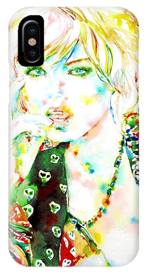Woman IPhone X Case featuring the painting Watercolor Woman.3 by Fabrizio Cassetta