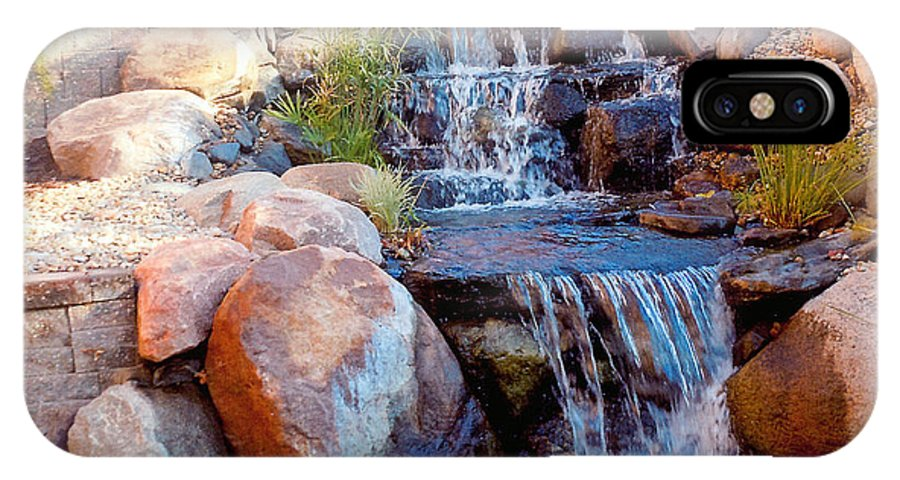 Photographs Of Waterfalls IPhone X Case featuring the photograph Waterfall Among Rocks by Barb Baker