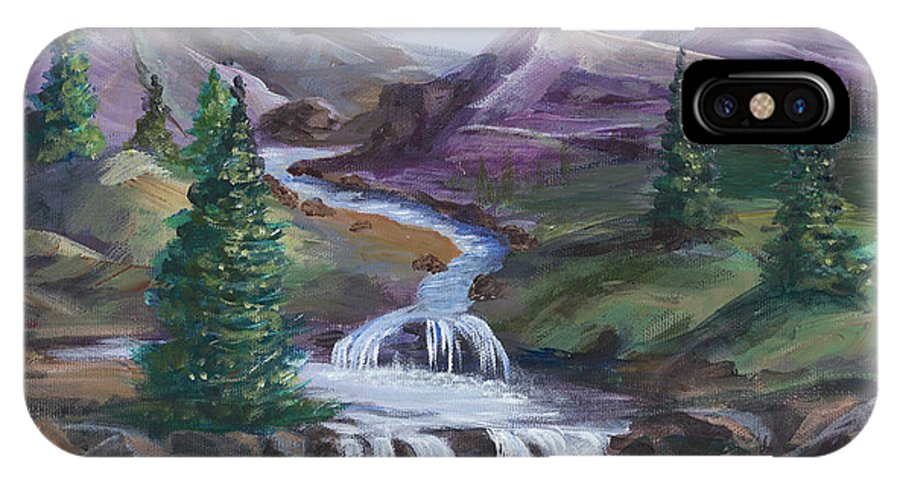 Purple IPhone X Case featuring the painting Purple Mountain River by Carol Verstoppen