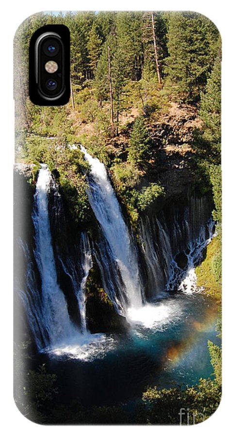 Mcarthur-burney Falls Memorial State Park IPhone X Case featuring the photograph Waterfall And Rainbow by Debra Thompson