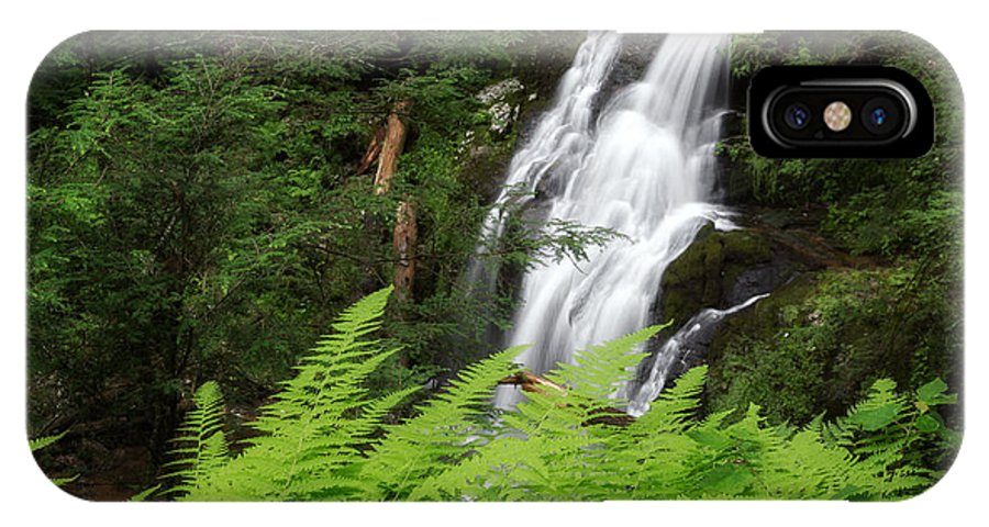 Nonnewaug Falls IPhone X Case featuring the photograph Waterfall Fern Square by Bill Wakeley