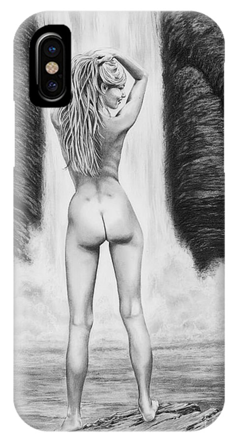 Waterfall IPhone X Case featuring the drawing Waterfall Pin Up Girl by Murphy Elliott