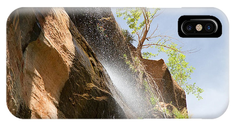 Waterfall IPhone X Case featuring the photograph Waterfall Zion National Park by Natalie Rotman Cote