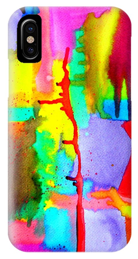 Watercolor IPhone X Case featuring the digital art Waterfalls 5 by Gerry GOS Simpson