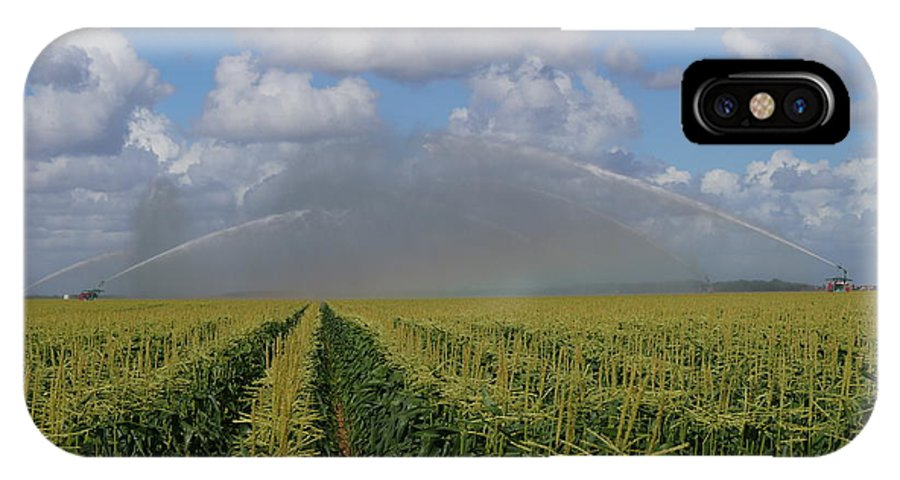 Corn IPhone X Case featuring the photograph Watering The Corn by John Wall
