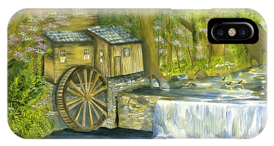 Watermill IPhone X Case featuring the painting Watermill In The Woods by Phyllis Muller
