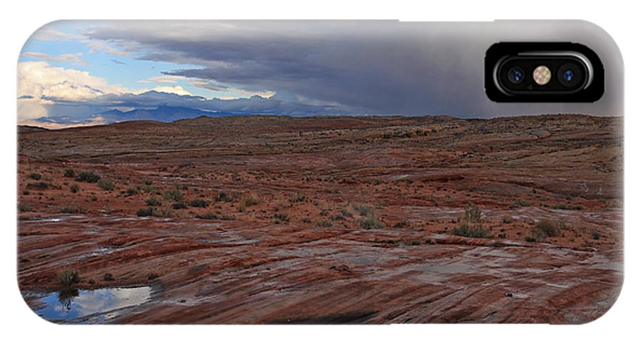 Nature IPhone X / XS Case featuring the photograph Waterpockets And Storm At The Valley Of Fire by Steve Wolfe