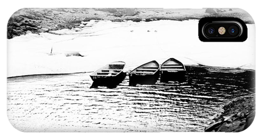 Boats IPhone X Case featuring the photograph Wating For The Thaw by Cat Connor
