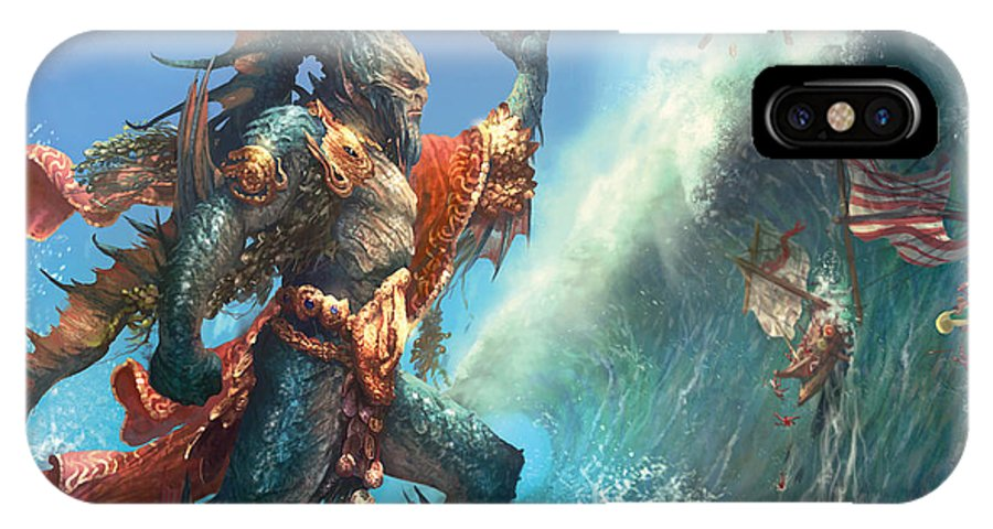 Magic The Gathering IPhone X Case featuring the digital art Wavecrash Triton by Ryan Barger