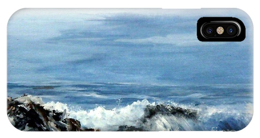 Seascape IPhone X Case featuring the painting Waves A Crashing by Lynne Parker