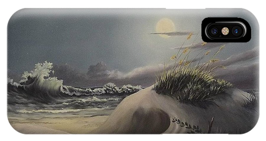 Landscape IPhone X Case featuring the painting Waves And Moonlight by Wanda Dansereau