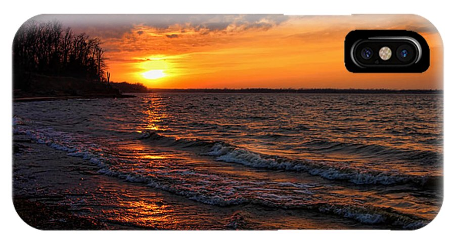 Sunset IPhone X / XS Case featuring the photograph Waves And Shiny Shore by Carolyn Fletcher