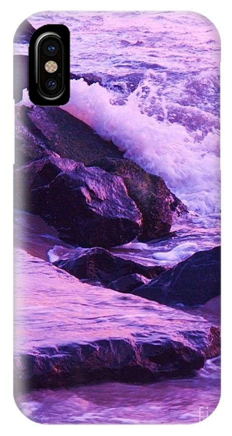 Wave IPhone X Case featuring the photograph Waves Breaking On Jetties by Eric Schiabor
