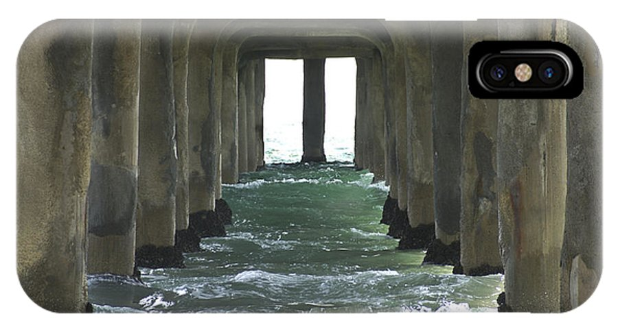 Beam IPhone X Case featuring the photograph Waves Under The Pier Landscape by SAJE Photography