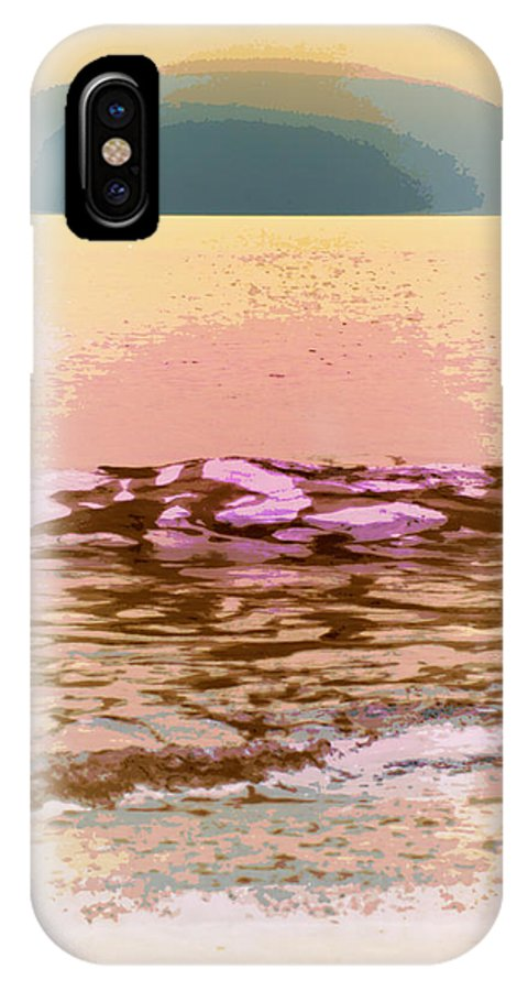 Digital Photograph IPhone X Case featuring the digital art Waves With Sunset by Laurie Pike