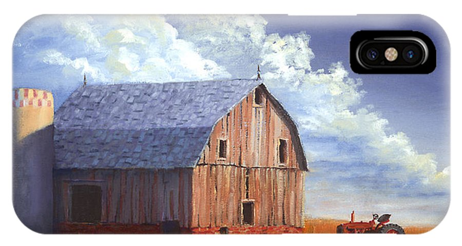 Tractor IPhone X Case featuring the painting Way Out West by Jerry McElroy
