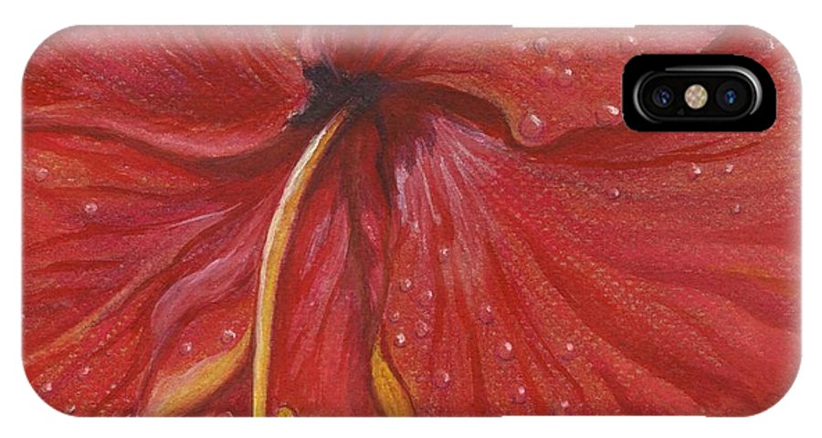 Christmas Cards IPhone X Case featuring the painting We Have Had Rain by Carol Wisniewski