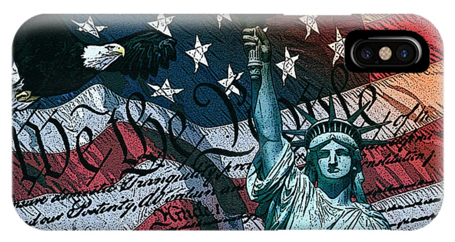 Flag IPhone X / XS Case featuring the digital art We The People by Dancin Artworks