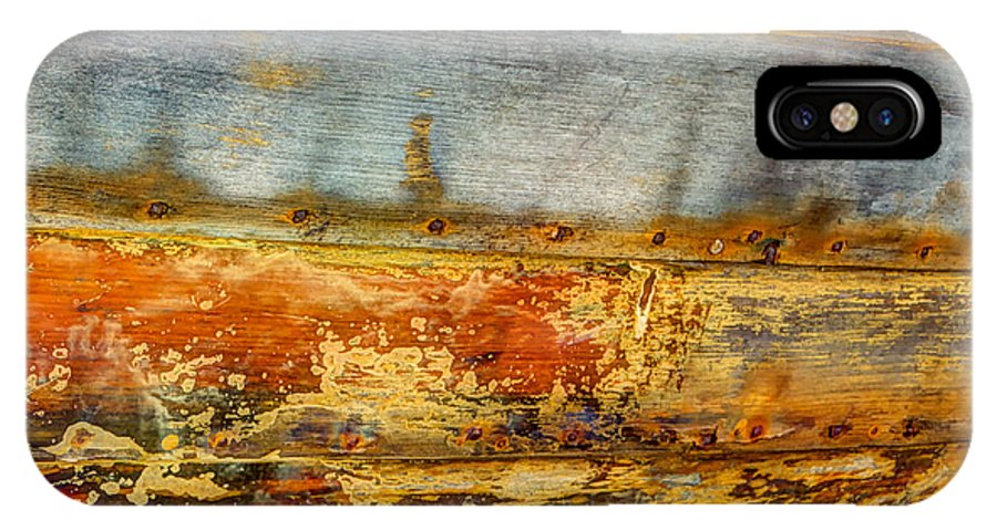 Wood IPhone X Case featuring the photograph Weathered Wooden Boat - Abstract by Heidi Smith