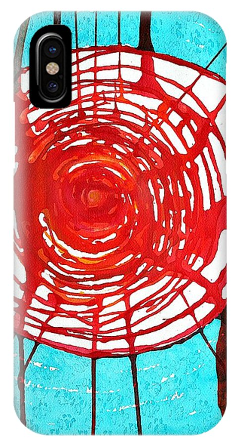 Web Of Life IPhone X / XS Case featuring the painting Web Of Life Original Painting by Sol Luckman