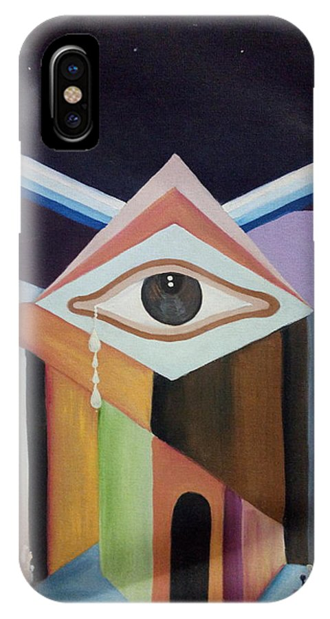 Weeping IPhone X Case featuring the painting Weeping Desire by Vikanksh Nath