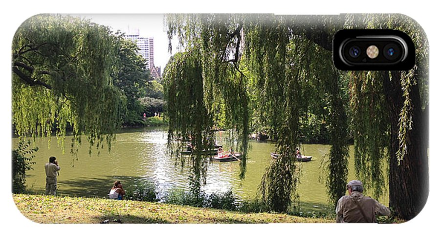 Central Park IPhone X Case featuring the photograph Weeping Willows In Central Park by Christy Gendalia