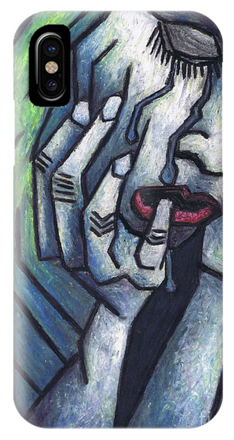 Weeping Woman IPhone X Case featuring the painting Weeping Woman by Kamil Swiatek
