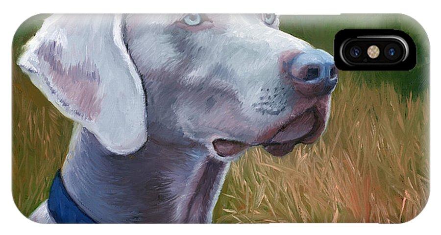 Weimaraner Dog IPhone X Case featuring the painting Weimaraner Dog by Alice Leggett
