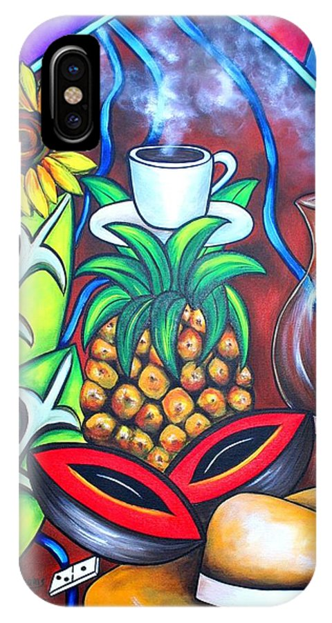 Cuban Paintings IPhone X Case featuring the painting Welcome To Here And Now by Annie Maxwell