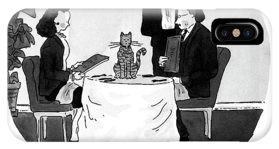 Waiter To Couple In Restaurant. A Cat Sits In The Center Of Their Table Where A Vase Of Flowers Should Be. Dining IPhone X Case featuring the drawing We're Out Of Flowers by Danny Shanahan
