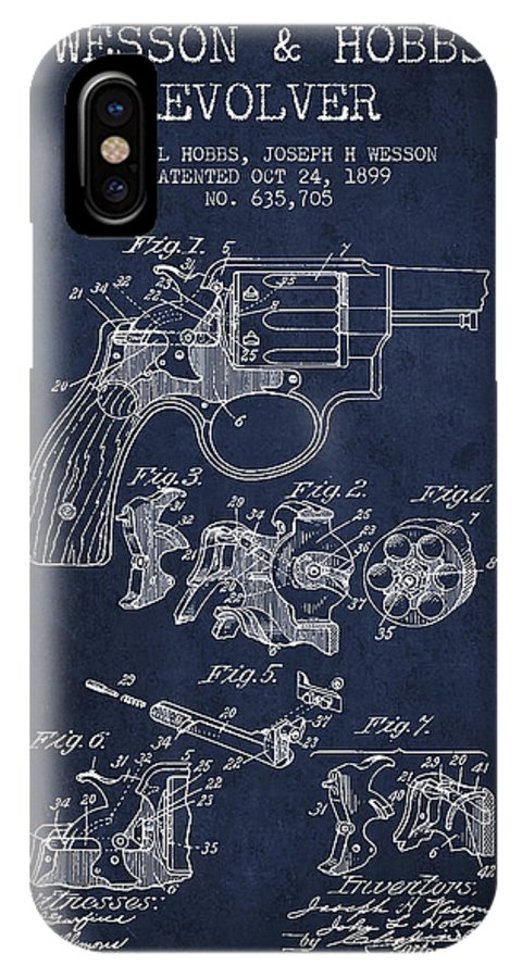 Revolver IPhone X / XS Case featuring the digital art Wesson Hobbs Revolver Patent Drawing From 1899 - Blue by Aged Pixel