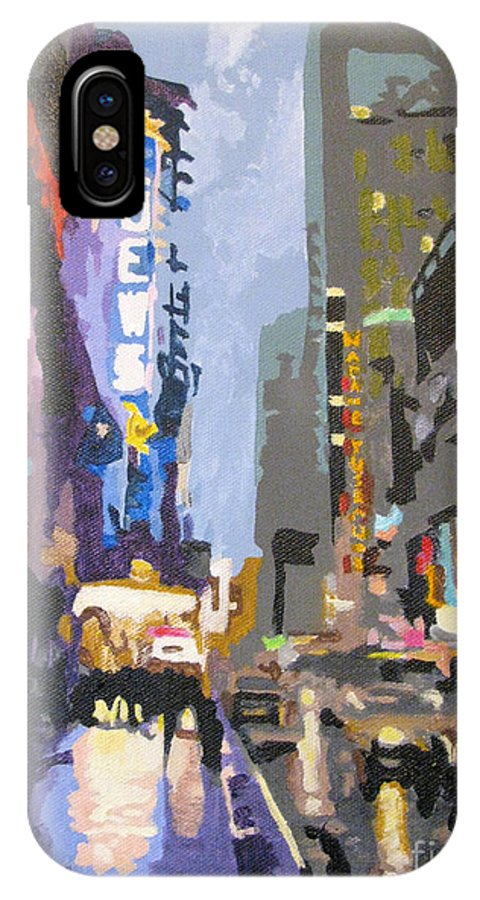 Urban IPhone X Case featuring the painting West 42nd Street by Nancie Johnson