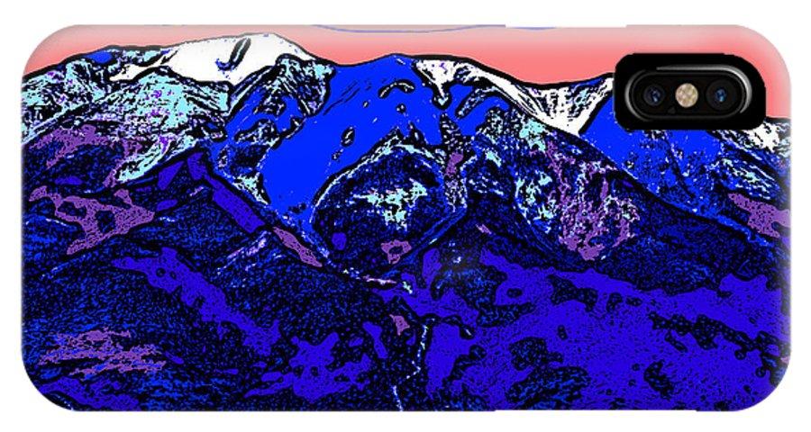 west Spanish Peak IPhone X / XS Case featuring the digital art West Spanish Peak- Colorado by David G Paul