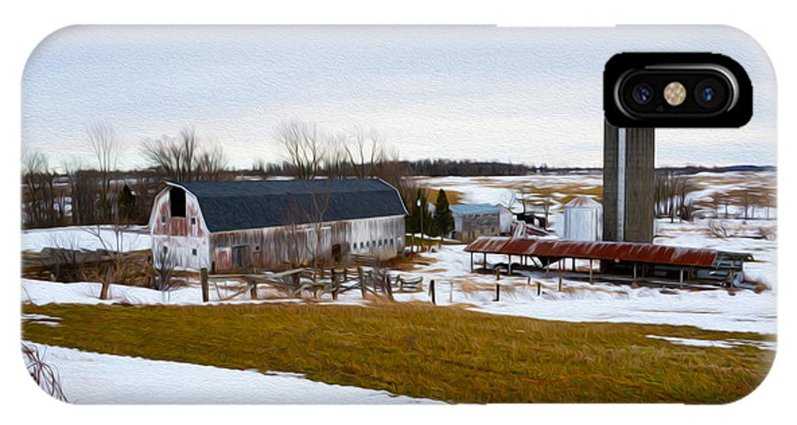 Barn IPhone X Case featuring the photograph Western New York Farm As An Oil Painting by Tracy Winter