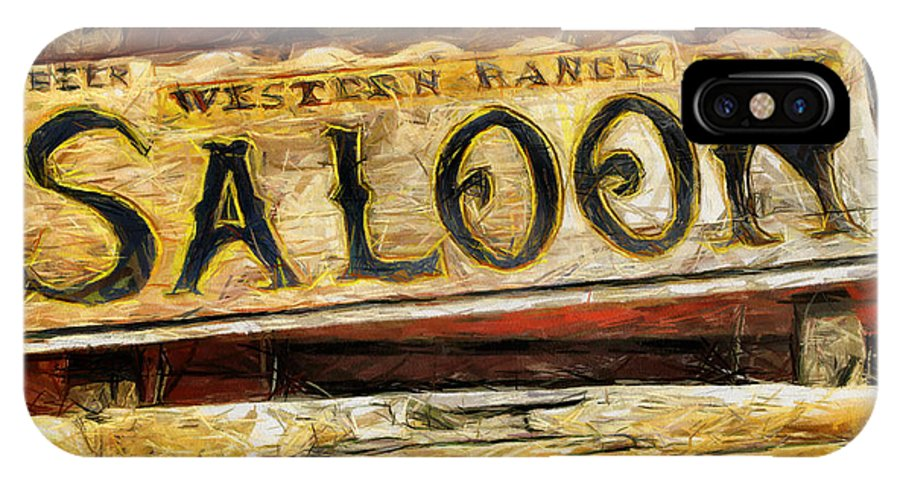 Saloon IPhone X Case featuring the drawing Western Saloon Sign - Drawing by Daliana Pacuraru