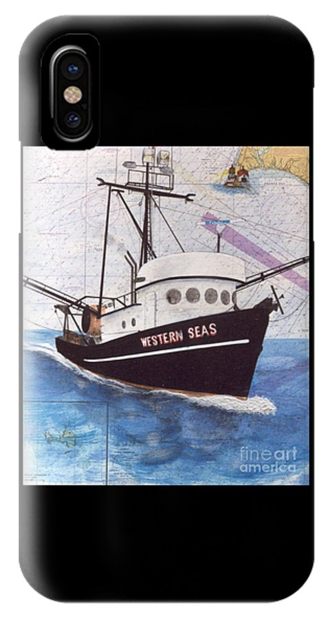 Western IPhone X / XS Case featuring the painting Western Seas Trawl Fishing Boat Nautical Chart Art by Cathy Peek