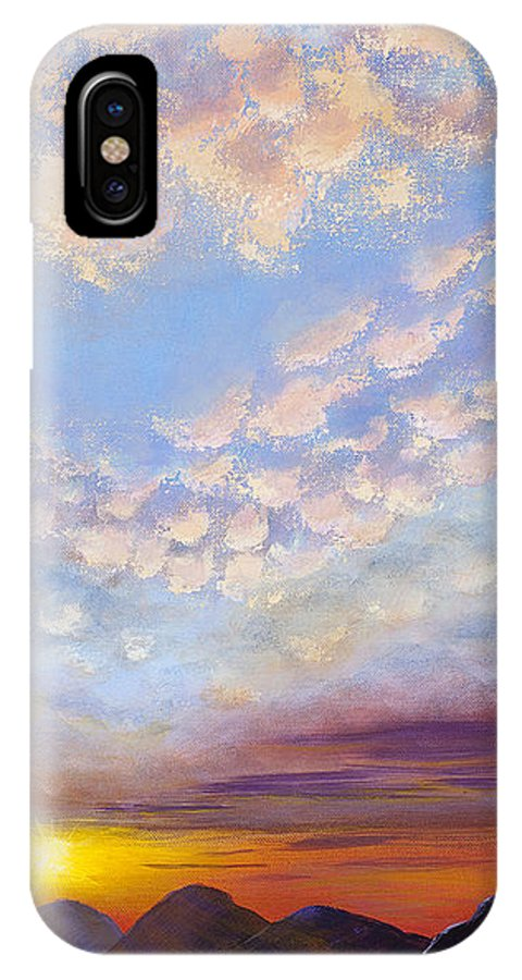 Landscape IPhone X Case featuring the painting Western Sunset by Margaret Bobb