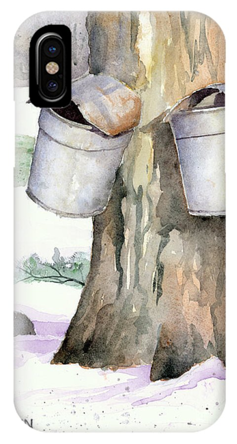 Maple IPhone X Case featuring the painting Westhampton Sap Buckets by Steve Hamlin