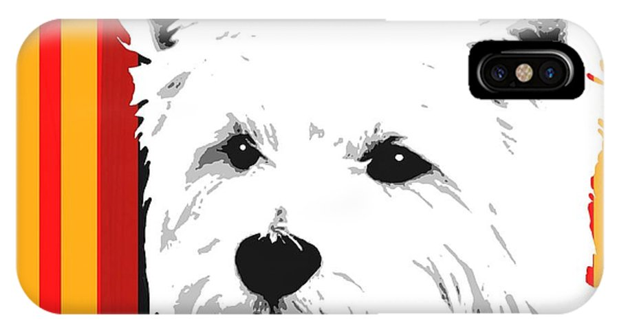 West IPhone X Case featuring the digital art Westie With Stripes by Cindy Edwards