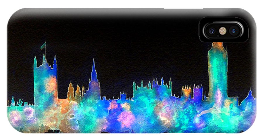 London IPhone X Case featuring the painting Westminster And Big Ben - Nighttime 1 by Bill Holkham