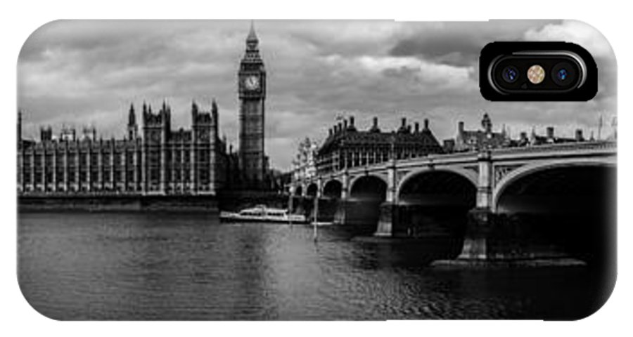 Westminster IPhone X Case featuring the photograph Westminster Pano Bw by Matt Malloy
