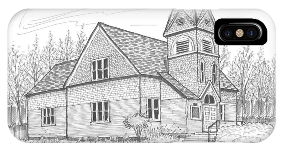 Church IPhone X Case featuring the drawing Westmore Community Church by Richard Wambach