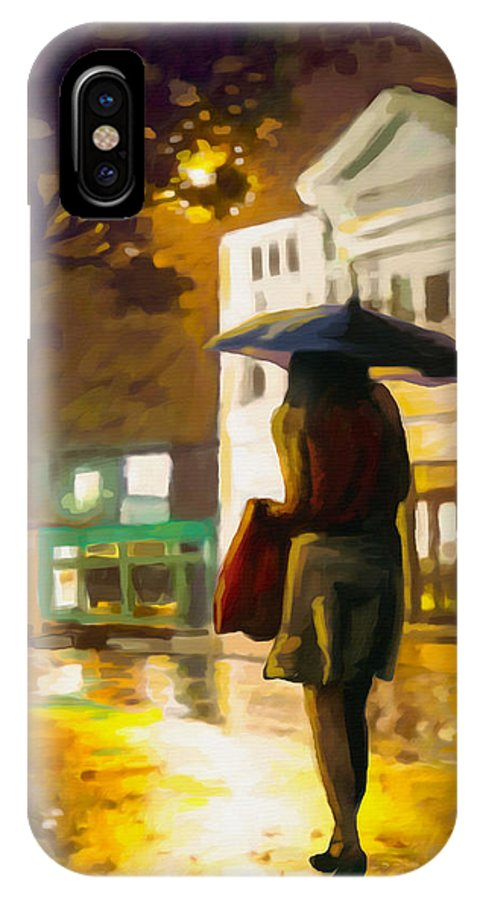 Night IPhone X Case featuring the painting Wet Night by Anthony Mwangi