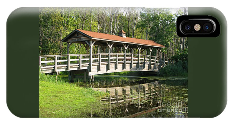 Bridge IPhone X Case featuring the photograph Wetland Footbridge by Ann Horn