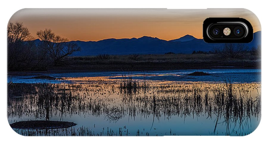Sunset IPhone X Case featuring the photograph Wetland Twilight by DesertAura Photography